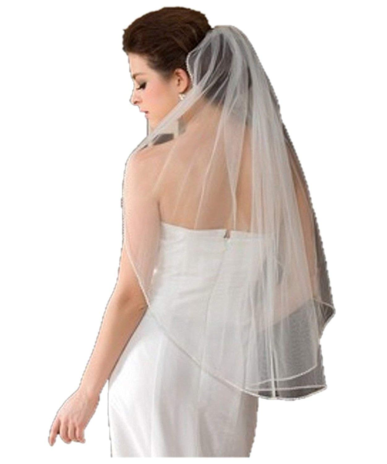 FJMM Women's Tulle Crystals Edge Ivory White Wedding Bridal Veil Short with Comb