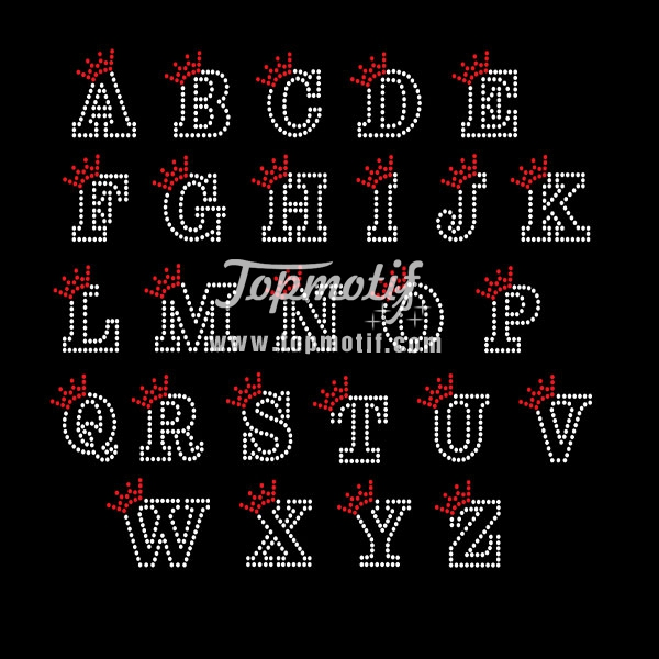 Hot Fix Pattern Motif Alphabet Rhinestone Studded Heat Transfers