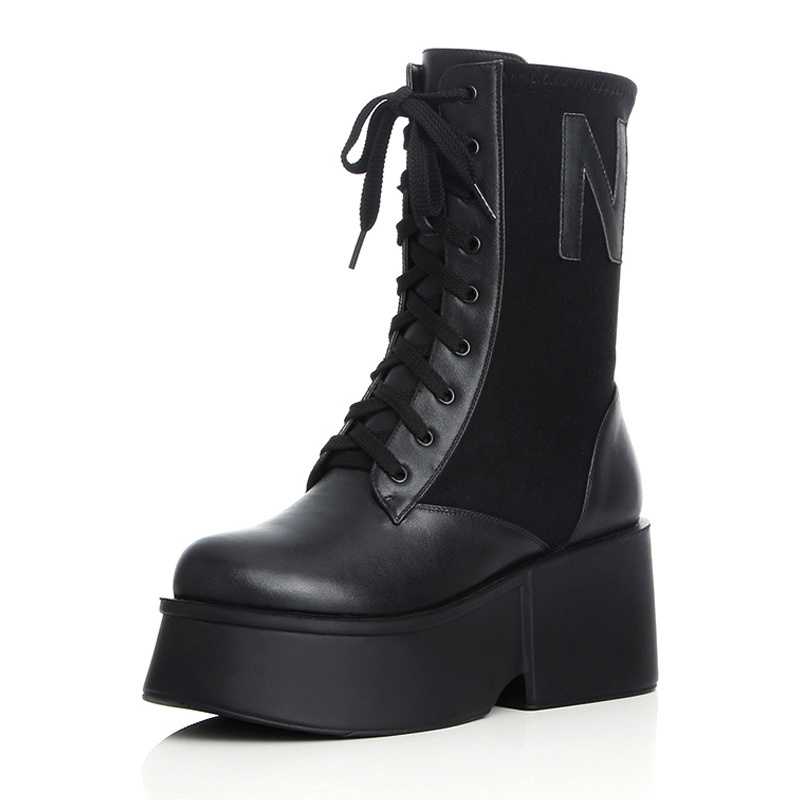 Brand Huikang British Style Womens Genuine Leather Boots Punk Vintage Platform Womens Martin Boots Black Military Boots A2-a967