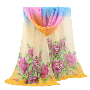 High-grade georgette beach towels hundreds of flowers chiffon silk scarf for women 2018.