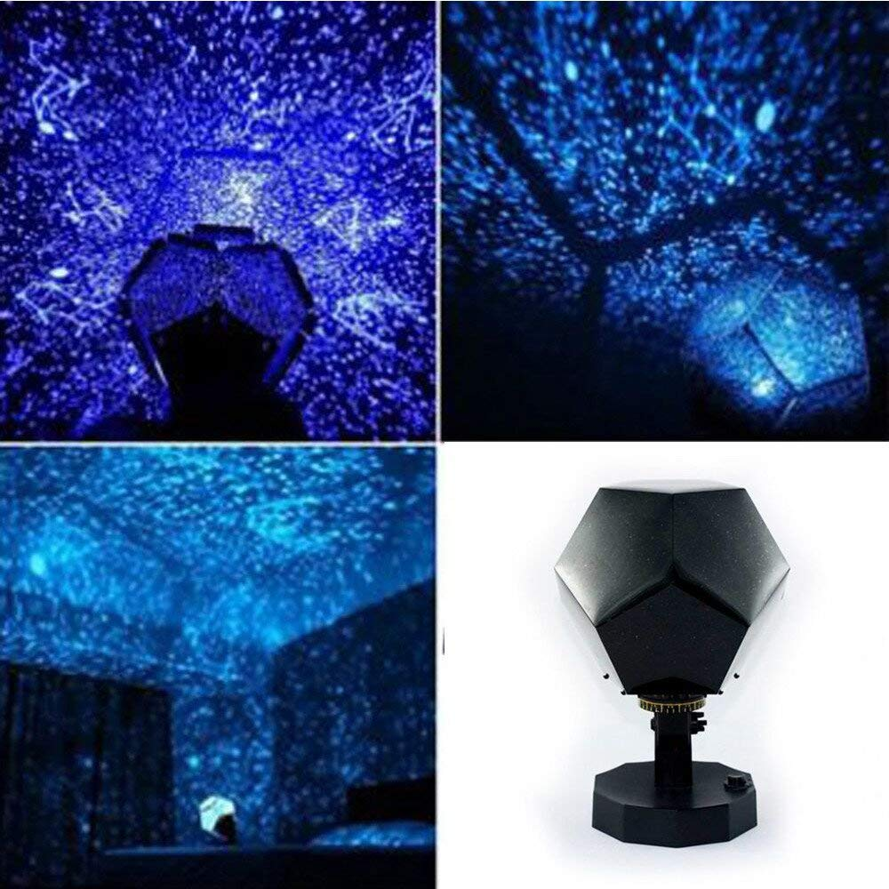 Rumas Starry Sky Projector Night Light for Kids Room Bedroom - Romantic Wedding Ornament for Dining Room Hotel - Battery Operated Night Lamp Decor for Home Office - Shipped from US (Blue)