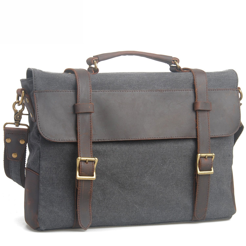 Get Quotations · EcoCity Cotton Canvas Genuine Leather Cross Body Laptop  Messenger Bags Business Shoulder Handbag Briefcases MB0035G3 ( e6498ac1b3d85
