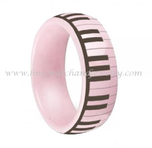 Laser piano design men women comfort fit pink ceramic ring jewelry 2015