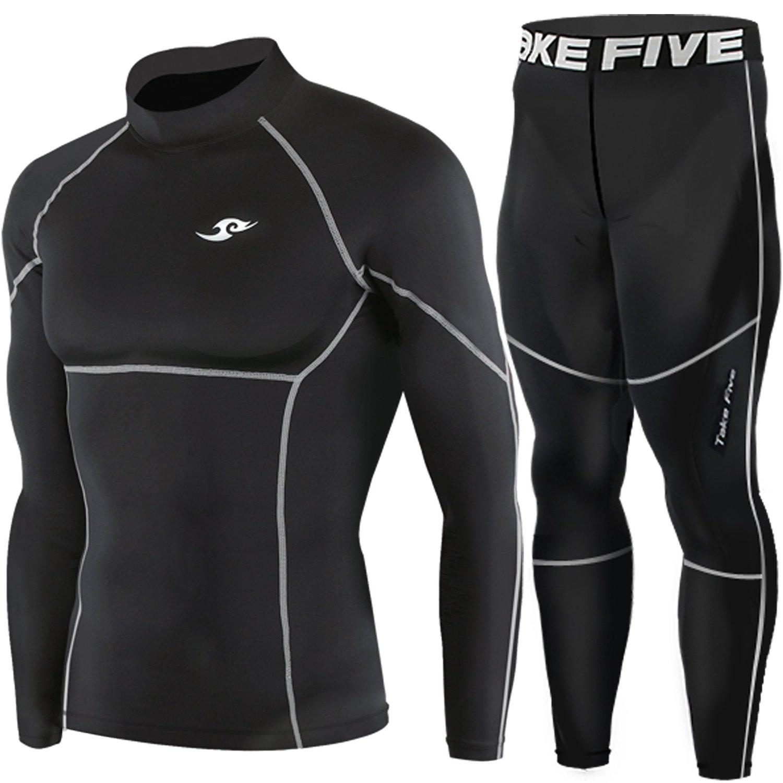 7867543aab Get Quotations · Mens Compression Base Under Layer Skin Long Sleeve Tights  Shirt & Pants Black SET