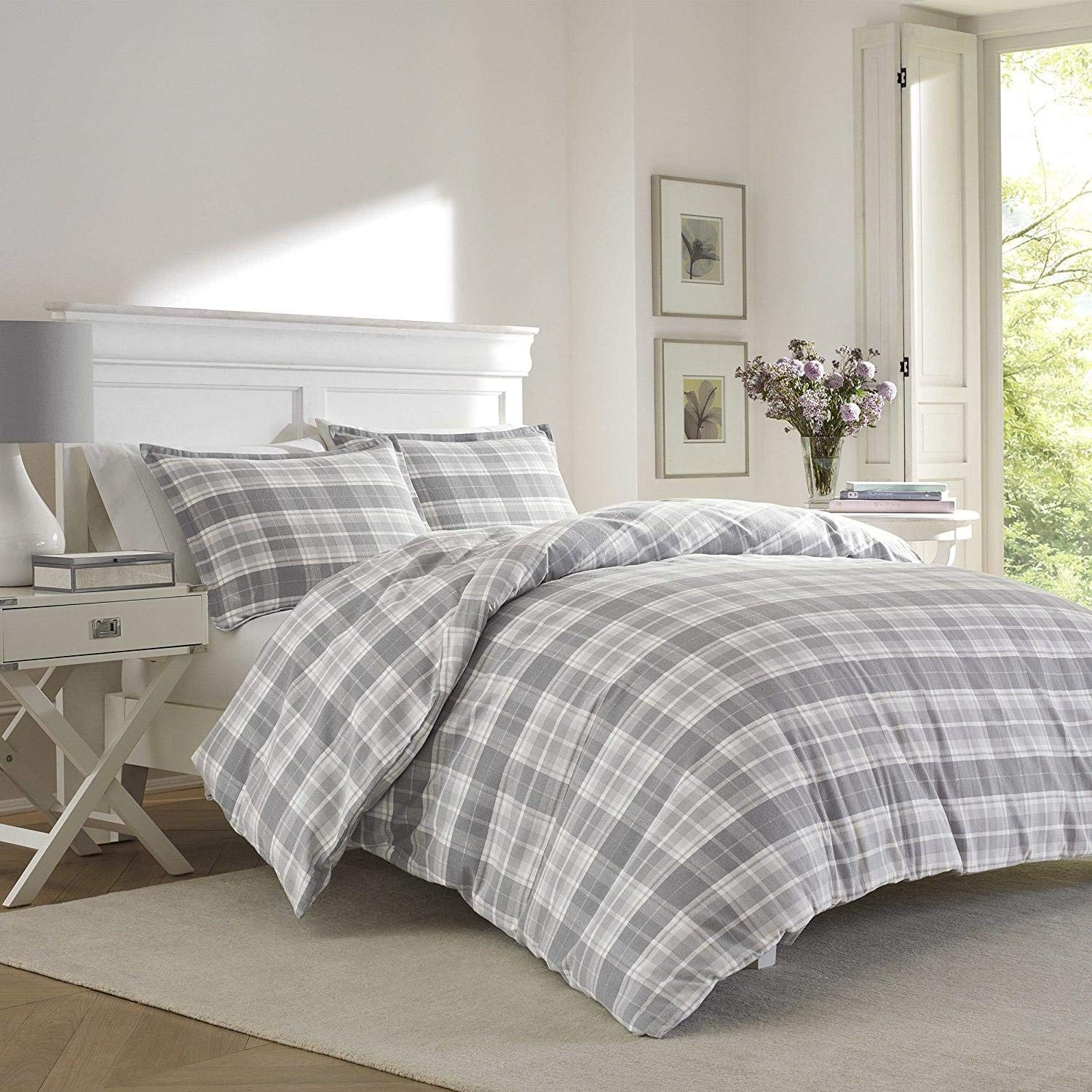 3pc Grey Plaid King Size Duvet Cover Set, Gray Madras Tartan Lumberjack Pattern Cottage Checked, Cotton Flannel, Coastal Lodge Cabin Themed French Country Checkered Bedding