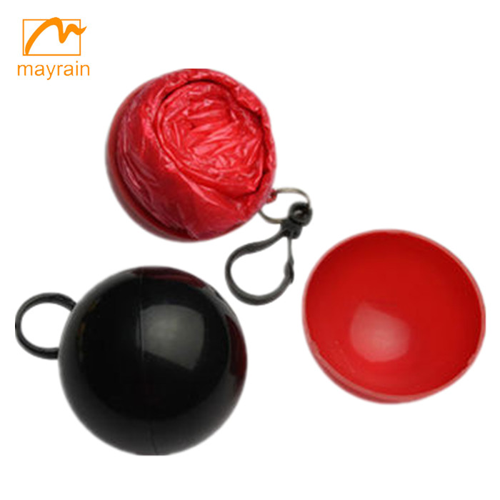 Wholesale Disposable red Rain Poncho With Keychain Ball