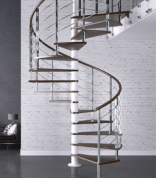 Prima Curved Wood Spiral Staircase Design / Villa Indoor Spiral Stairs -  Buy Industrial Spiral Stairs,Stainless Steel Wood Spiral Stairs,Decorative