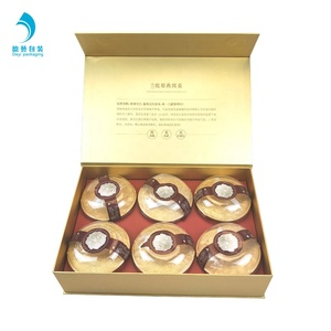 Custom gold card art paper gift packaging Instant bird nest drink box with hollow out tray