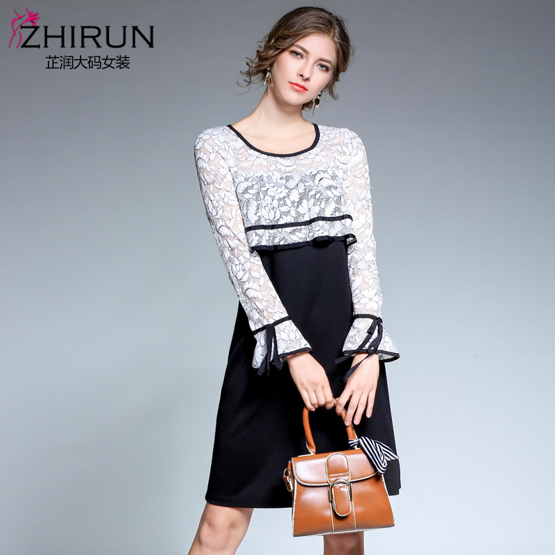 Europe and the United States autumn outfit new fertilizer plus-size women's long sleeve lace speed sell tong dress 3936 hollow-o