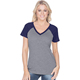 Wholesale v neck women tshirt 2 tone t shirt slim fit cotton raglan t shirt women