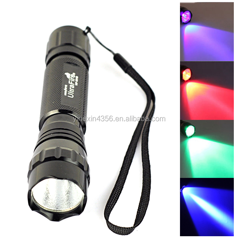 Factory Original 501B LED Flashlight with Purple /Red/ Blue/ Green Light LED Torch