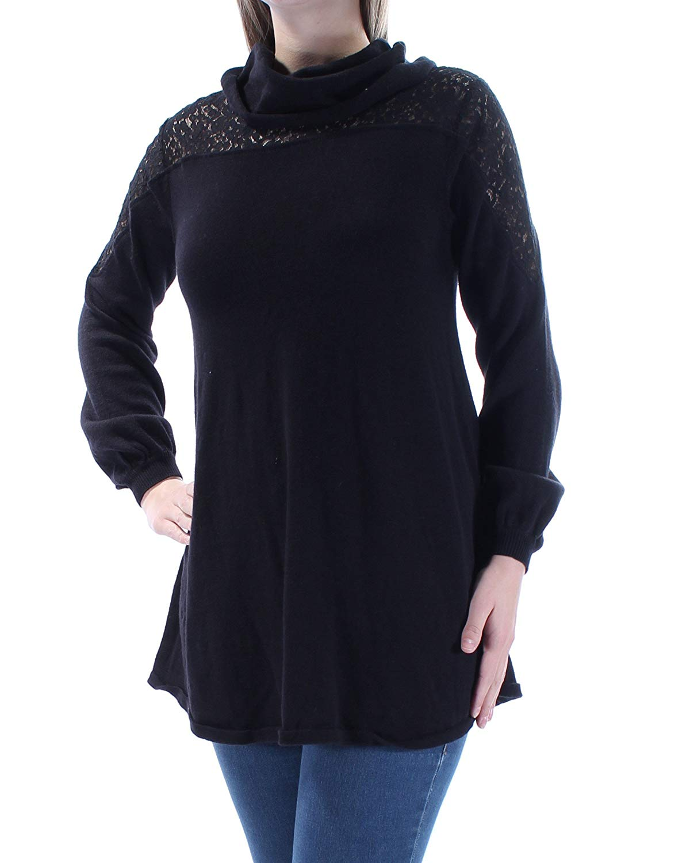 Style & Co. Womens Knit Lace Yoke Pullover Sweater Black L
