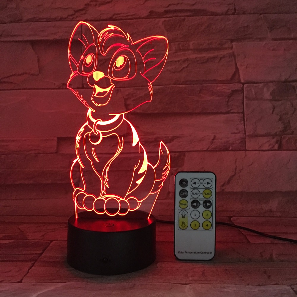 New Customization Animal Image 3 D Visual Illusion Touch Panel Night Light Present for Kids Birthday