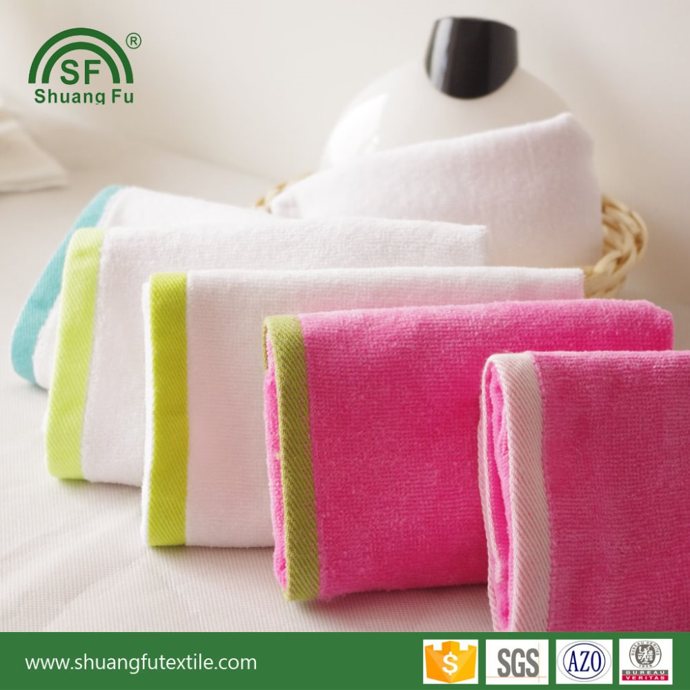 Cheap cut pile 100% <strong>cotton</strong> with dobby border towel factory direct in stock wholesale