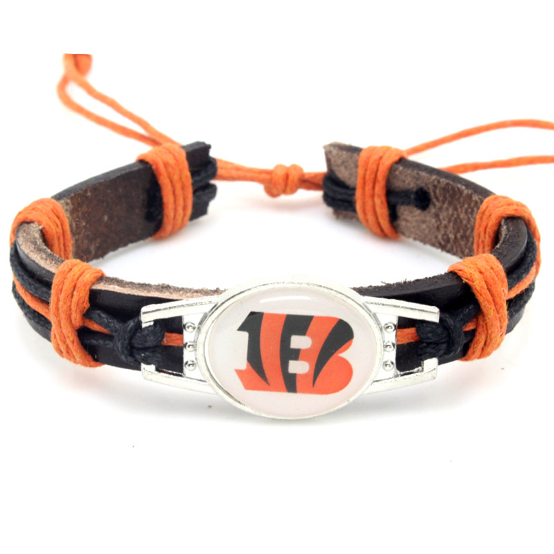New custom all 32 designs American football teams NFL leather Cincinnati Bengals bangle jewelry bracelet