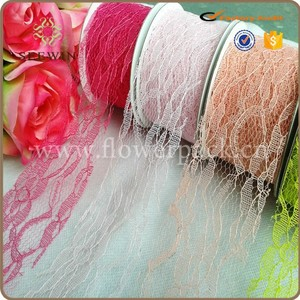 Coloful poly deco mesh ribbon for wedding and flower or gift