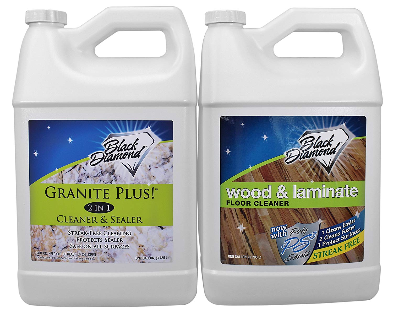 Granite Plus! 2 in 1 Cleaner & Sealer for Granite, Marble, Travertine, Limestone, Ready to Use! Black Diamond Wood & Laminate Floor Cleaner: For Hardwood, Real, Natural & Engineered Flooring –Biodegradable Safe for Cleaning All Floors (1, 2-Gallons)