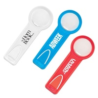 Multi-purpose 3 in 1 creative PP plastic 6 cm straight rule end side bookmark top small round helping hand magnifying glass