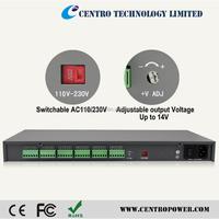 Adjustable rack mount power distribution unit 12v dc with LED meter