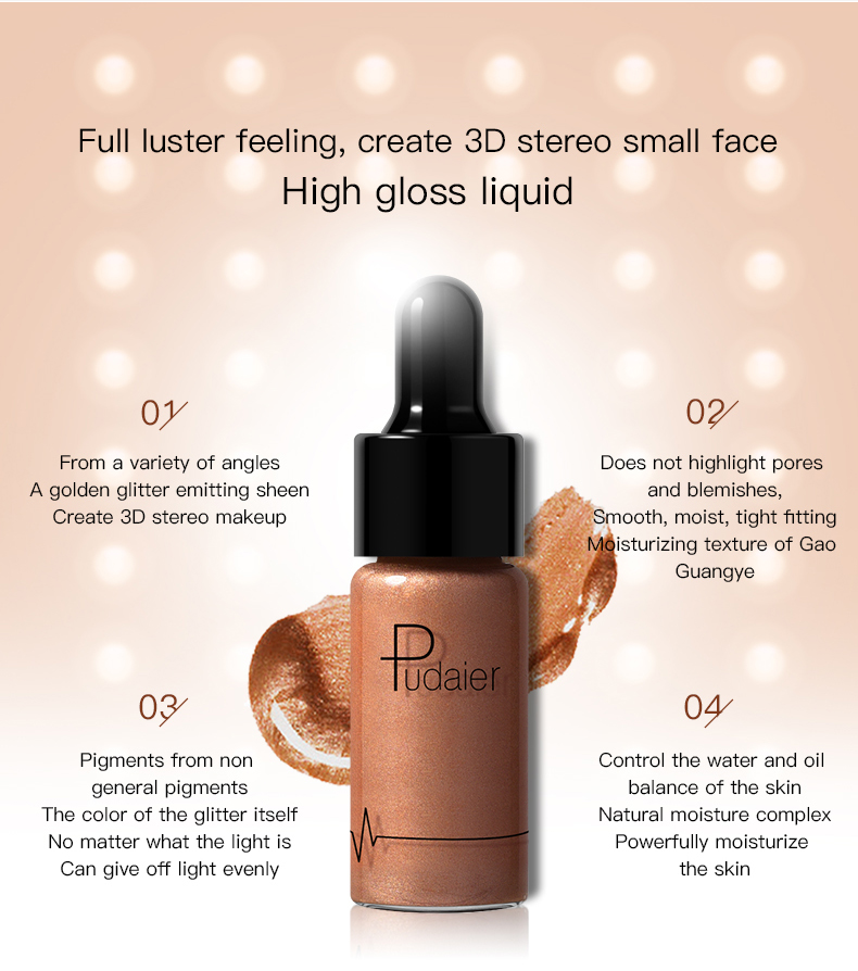 Pudaier New Liquid Highlighter Makeup Contouring Face Brightener Glow Shimmer Bronzer Highlighter Glitter Makeup Cream