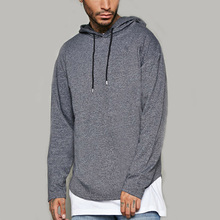 Plain hoodies no pocket jersey fabric mens 100 cotton hoodie 100% cotton material with ribbed cuffs