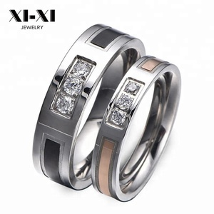 Hot Sale direct factory price titanium steel couple rings white CZ for wedding engagement