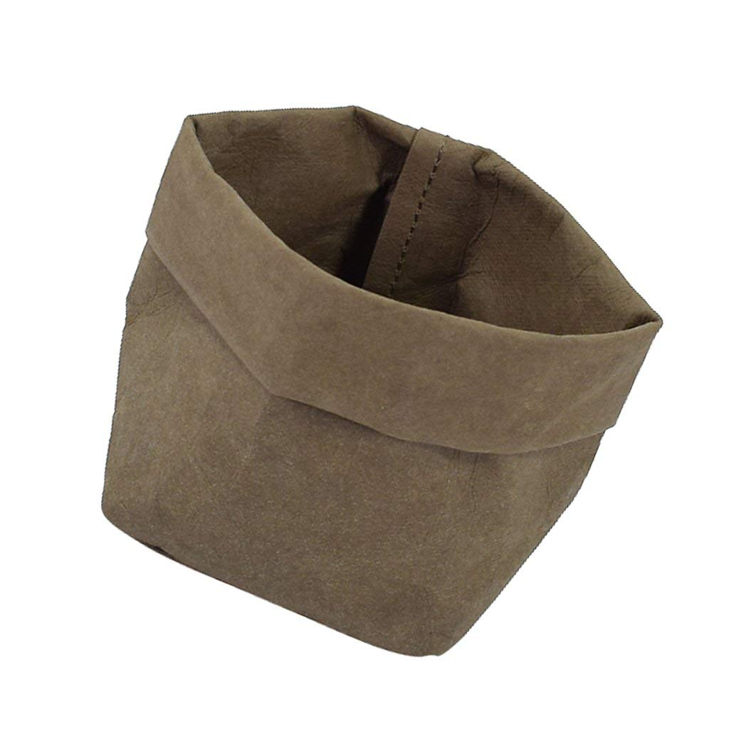 MagiDeal Small Washable Kraft Paper Storage Bag Succulent Plant Pot for Home and tabletop Decoration - Olive Green, 10x10x20cm