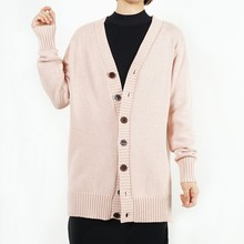 100% baumwolle 7GG/5GG V neck long sleeves <span class=keywords><strong>chunky</strong></span> strickjacke mit tasten