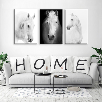 White Horse Wall Art Canvas Prints Modern Art Home Decor For