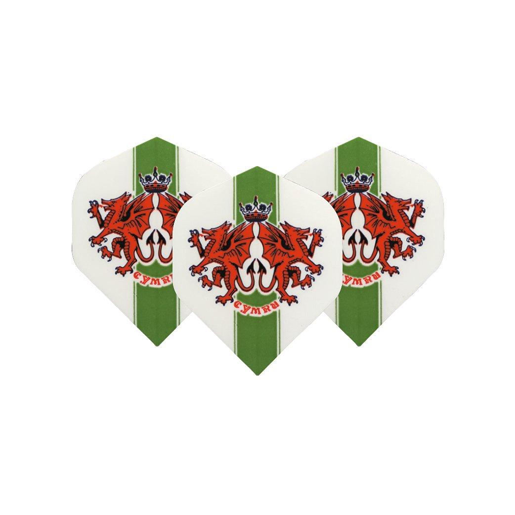 Cymru Dragons Standard Dart Flights - 5 sets per pack (15 flights in total) & Red Dragon Checkout Card