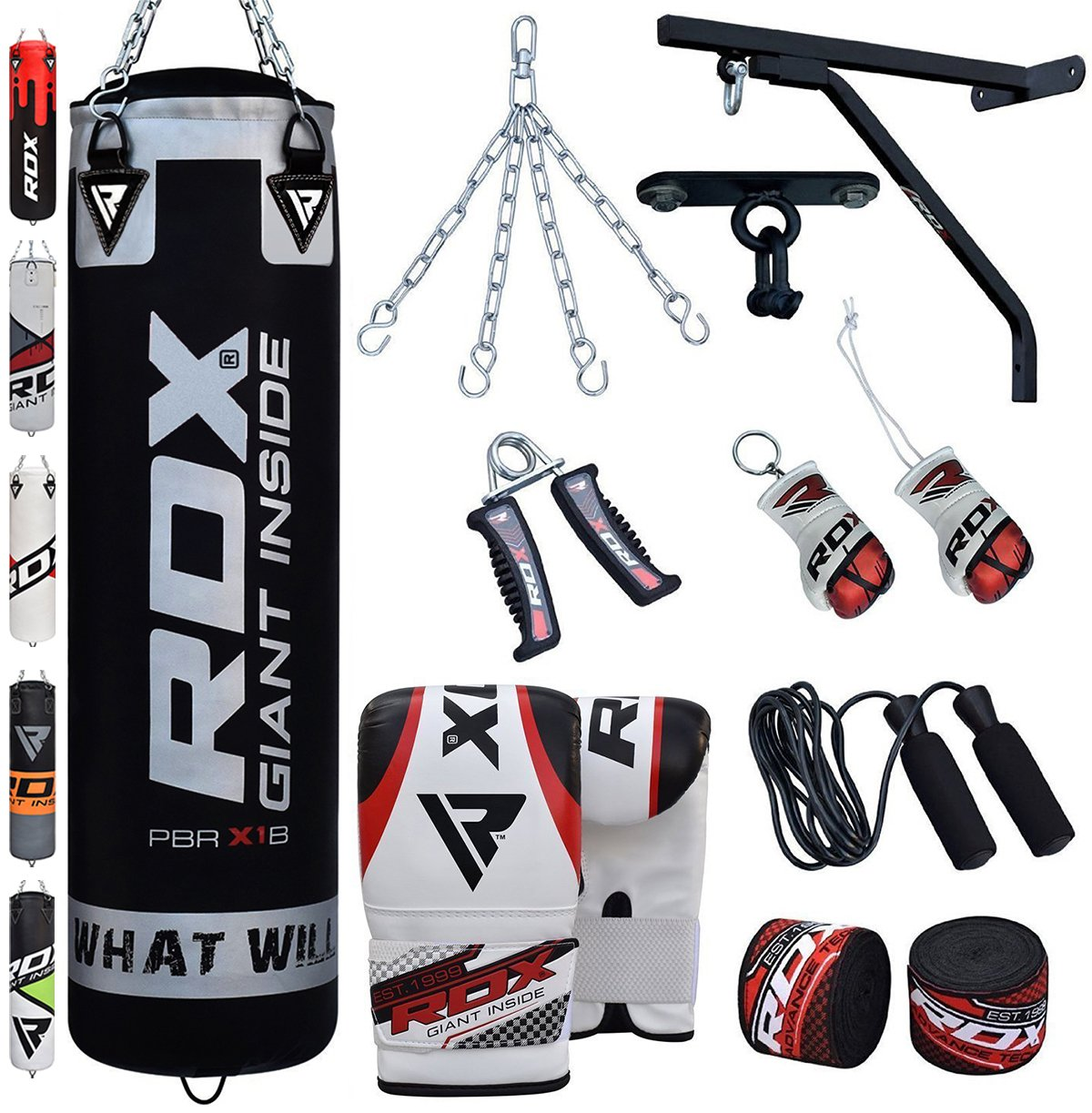 RDX Punching Bag UNFILLED Set Kick Boxing Heavy MMA Training with Gloves 4FT//5FT