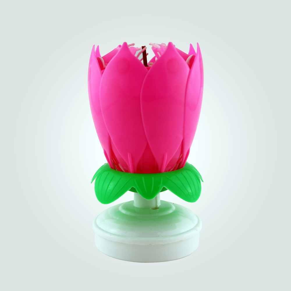 The Most Popular Music Birthday Lotus Flower Candle Buy Rotating