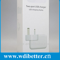 Uk Eu Us Plug Adapter 2 Ports Usb Ac Wall Charger With Led ...