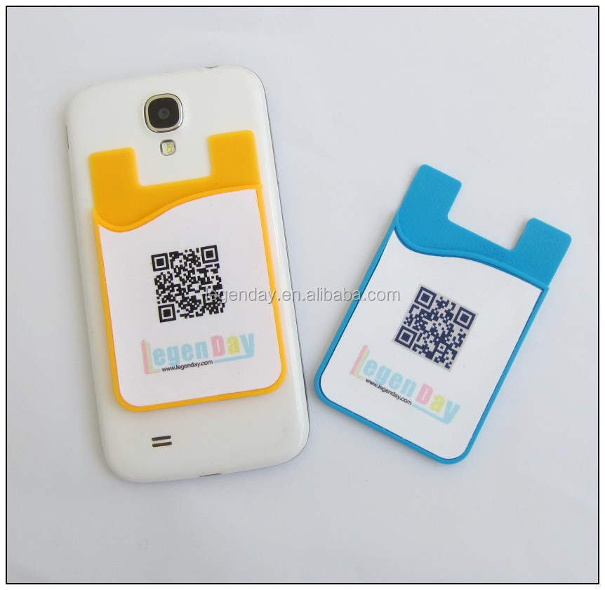 True 3M adhesive silicone smart cellphone id/business card holder with microfiber screen cleaning pad