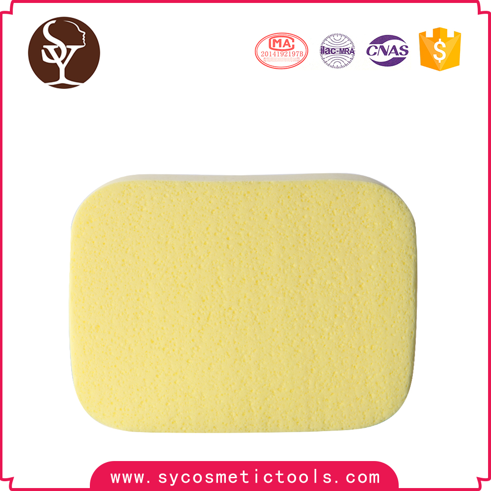 Hot style 2 PCS Yellow color rectangle soft facial sponge for cleansing