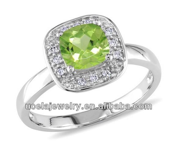 10k White Gold Square Peridot Ring Diamond Set Dubai Wedding Rings ...