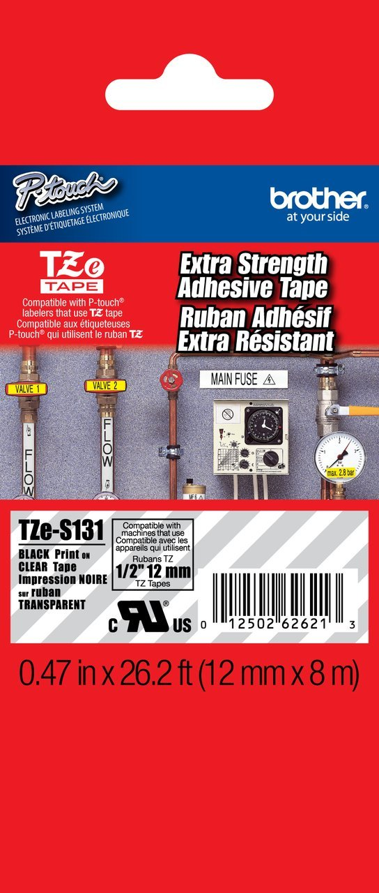 """Brother 1/2"""" (12mm) Black Print on Clear Extra Strength Adhesive P-touch Tape for Brother PT-1700, PT1700 Label Maker"""