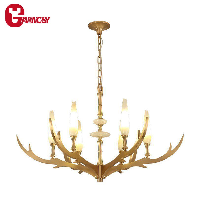 Amerikanischen Land Stil Phantasie Kronleuchter Marmor Kupfer Pendelleuchte  Dekorative Hirschhorn Lampen