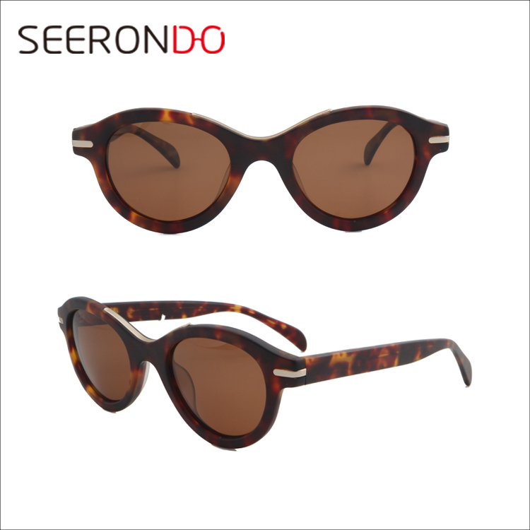 SEERONDO 2017 China Factory Price Unisex Luxury Acetate Sunglasses Round UV400 Gafas De Sol