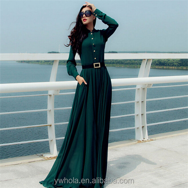 Western Women Elegant Long Sleeve Dark Green Chiffon Maxi Cocktail Dress  With Belt f7a31e772