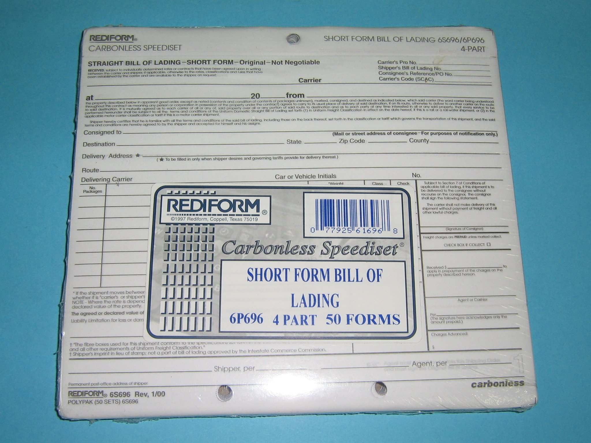 "9"" x 7"" Short Form Bill Of Lading, 4 Part (RED6P696)"
