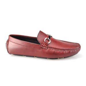 Wine red buckle casual loafer men shoes in daily life
