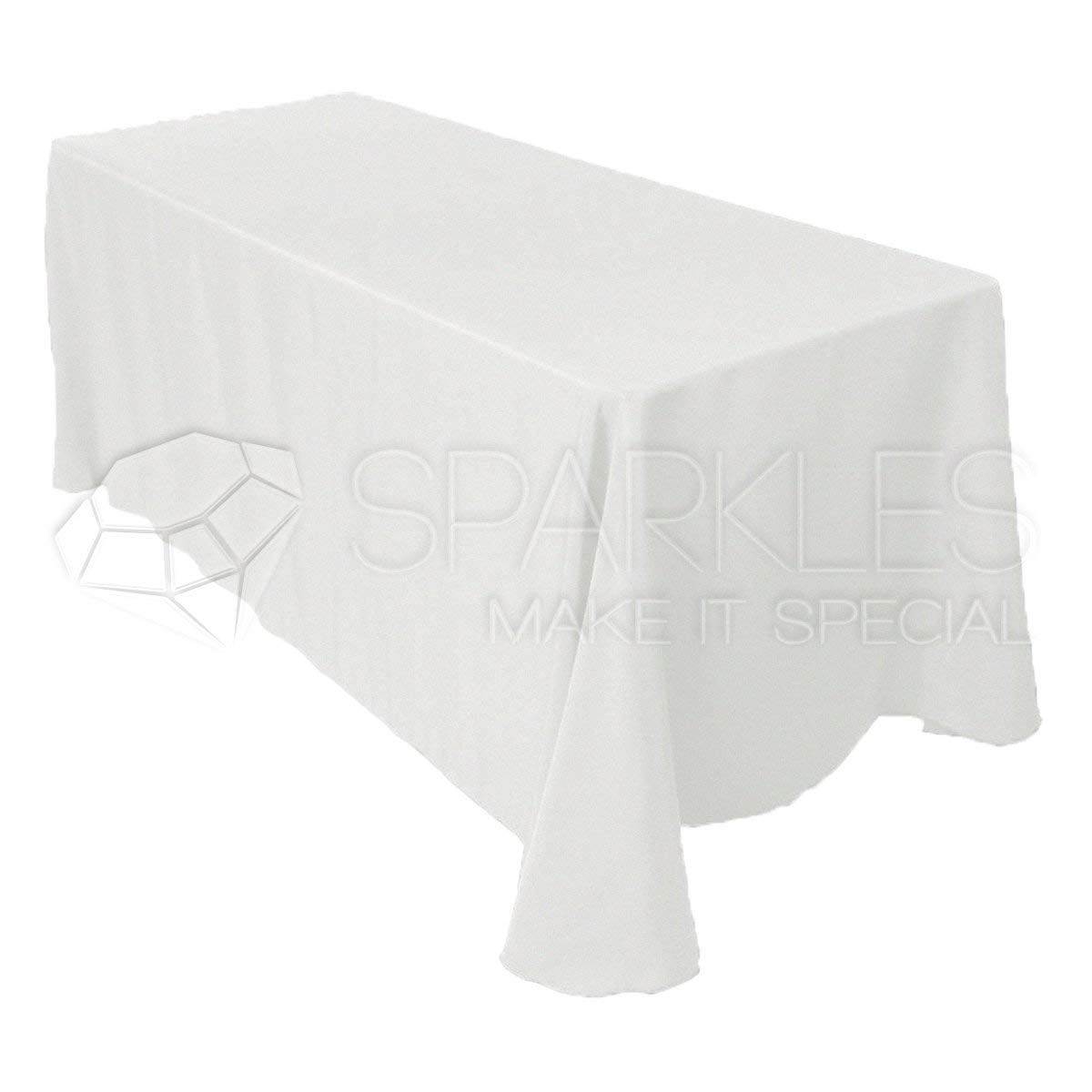 "Sparkles Make It Special 5-pcs 90"" x 156"" inch Rectangular Polyester Cloth Fabric Linen Tablecloth - Wedding Reception Restaurant Banquet Party - Machine Washable - White"