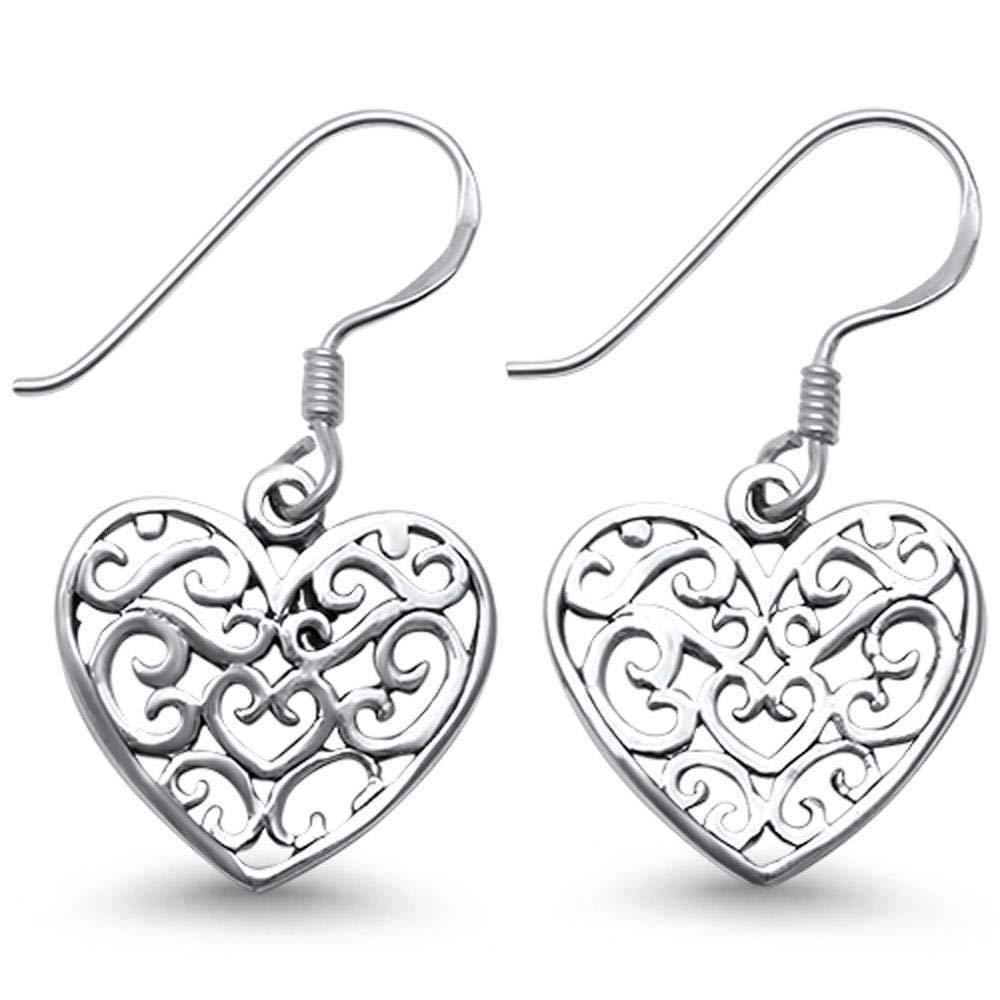 Brightt Plain Heart Shape Filigree .925 Sterling Silver Earrings