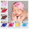 NEW grosgrain ribbon Baby Headbands Boutique flower +girls elastic hair bands+pearl hair accessories for kids BTS003