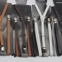 Formal 3 Clips Skinny Artificial Leather PU Suspenders For Men Heavy Duty