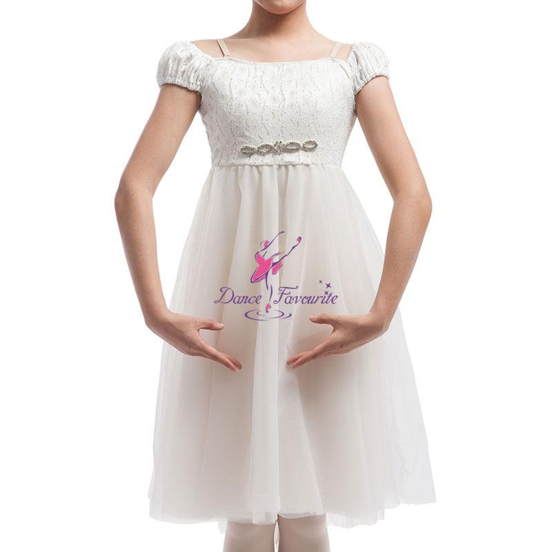 5bcd16f2f Hot Sale Girls White Ballet   Lyrical   Contemporary Dance Dress ...