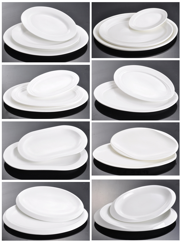 Custom Ceramic Porcelain Fine Bone China Oval Plate Dish For Restaurant Hotel