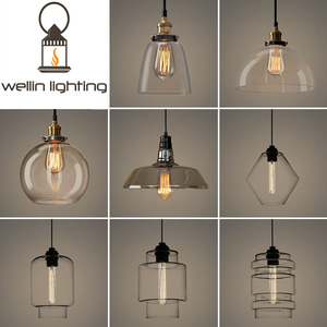 Amber Smokey Grey Clear Fog Glass Pendant Lighting Lamp, Decoration Hanging Chandelier Lamp Vintage Edison Blub