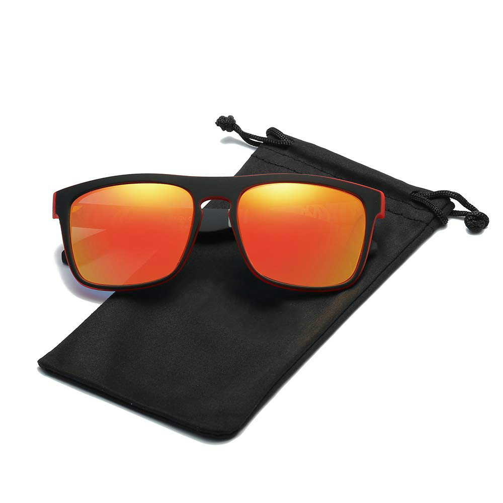 HD Polarized Sunglasses Men Women Reflective Coating Square Sun Glasses UV400 Driving Fishing Sport Eyewear Without Case